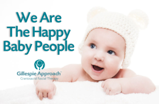 We Are The Happy Baby People logo - Gillespie Approach–Craniosacral Fascial Therapy