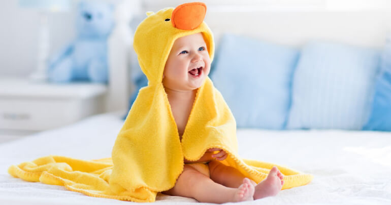 Fussy torticollis baby in duck costume - Gillespie Approach–Craniosacral Fascial Therapy