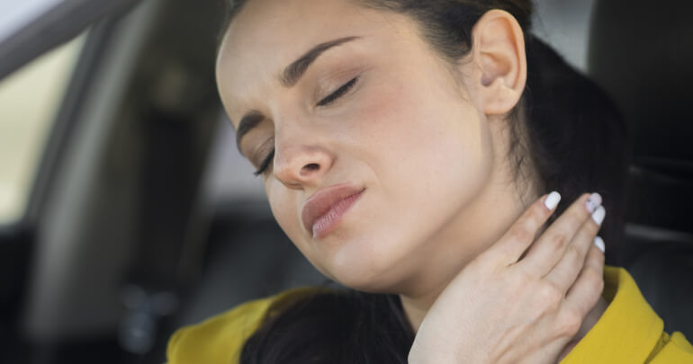 I hold my tension in my neck and shoulders - woman with neck pain while driving - Gillespie Approach–Craniosacral Fascial Therapy